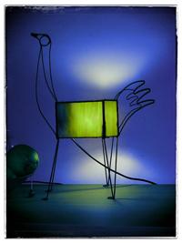 ציפור ירוקה - מנורות שולחן ויטראז ופליז