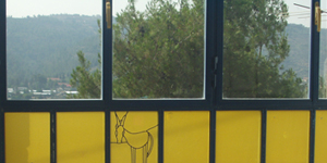 חלונות מעוצבים - חלון ויטראז גיאומטרי ויחידה של ויטראז עם דוגמת חמור בטכניקת עופרת