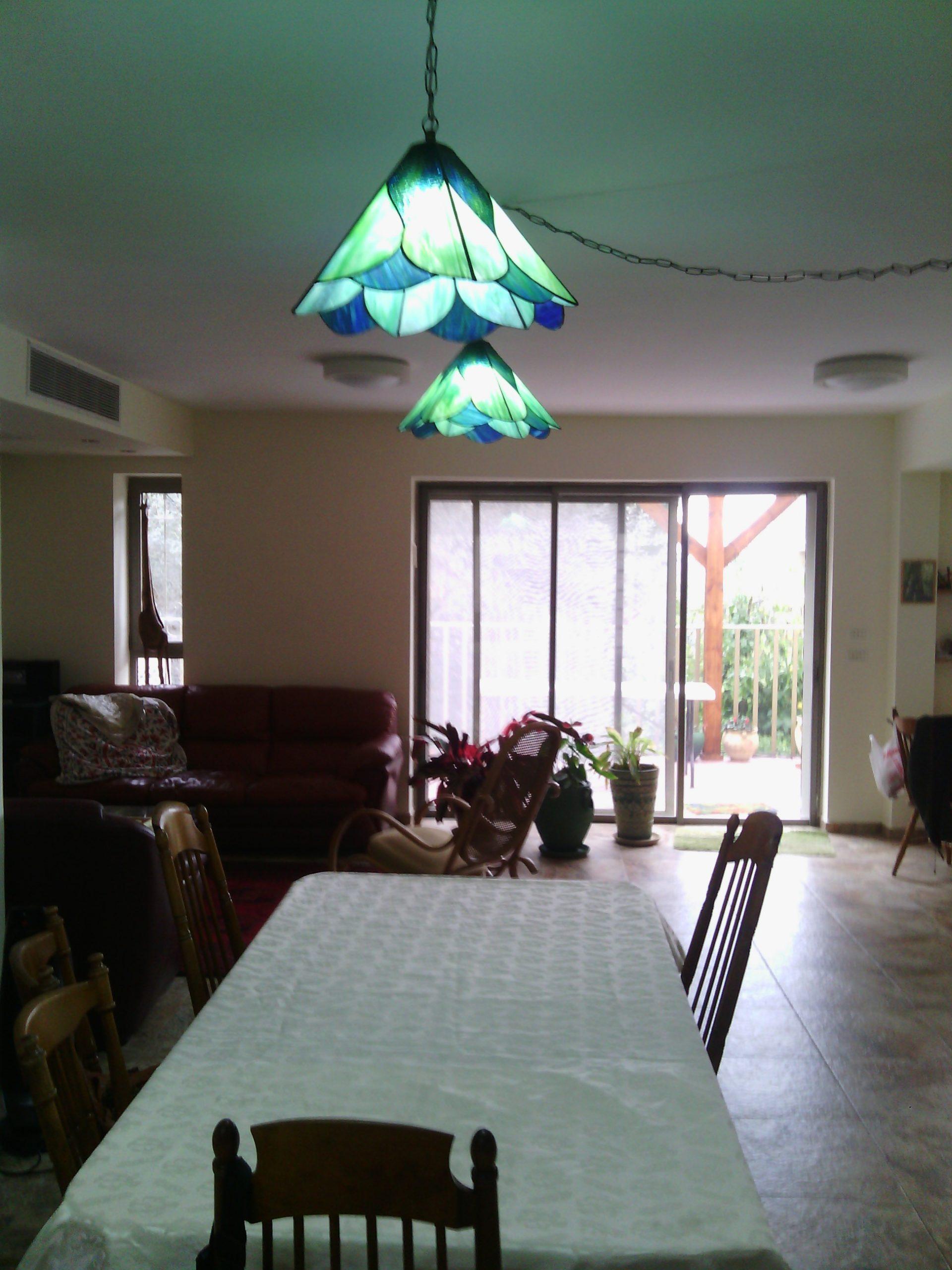 זוג מנורות ויטראז לסלון בצבעי כחול ירוק