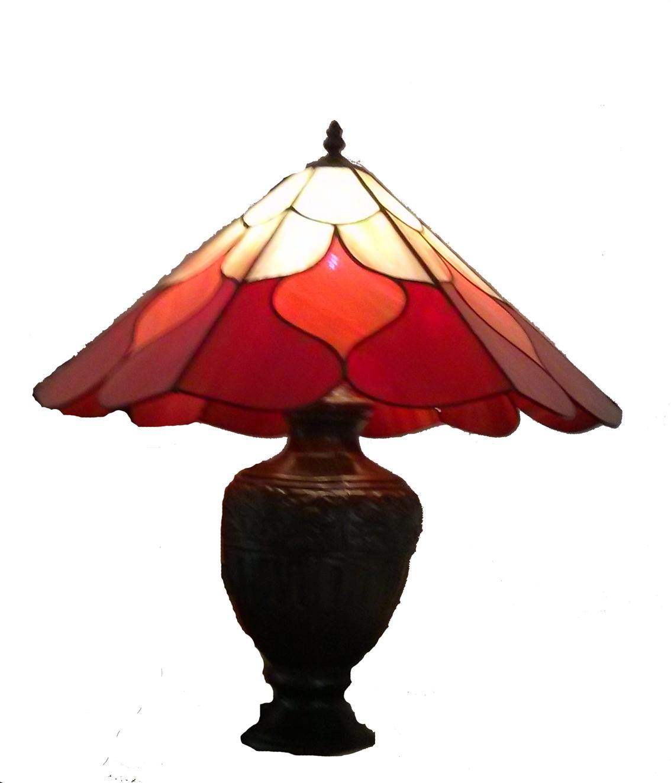 מנורת שולחן ויטראז טיפאני באדום וכתום