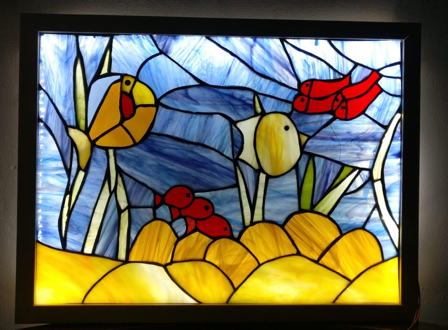 תאורת לד בשילוב ויטראז - תמונת ים ודגים