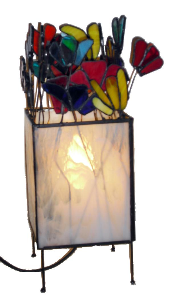 מנורת ויטראז מנורת טיפאני עומדת דגם פרחים