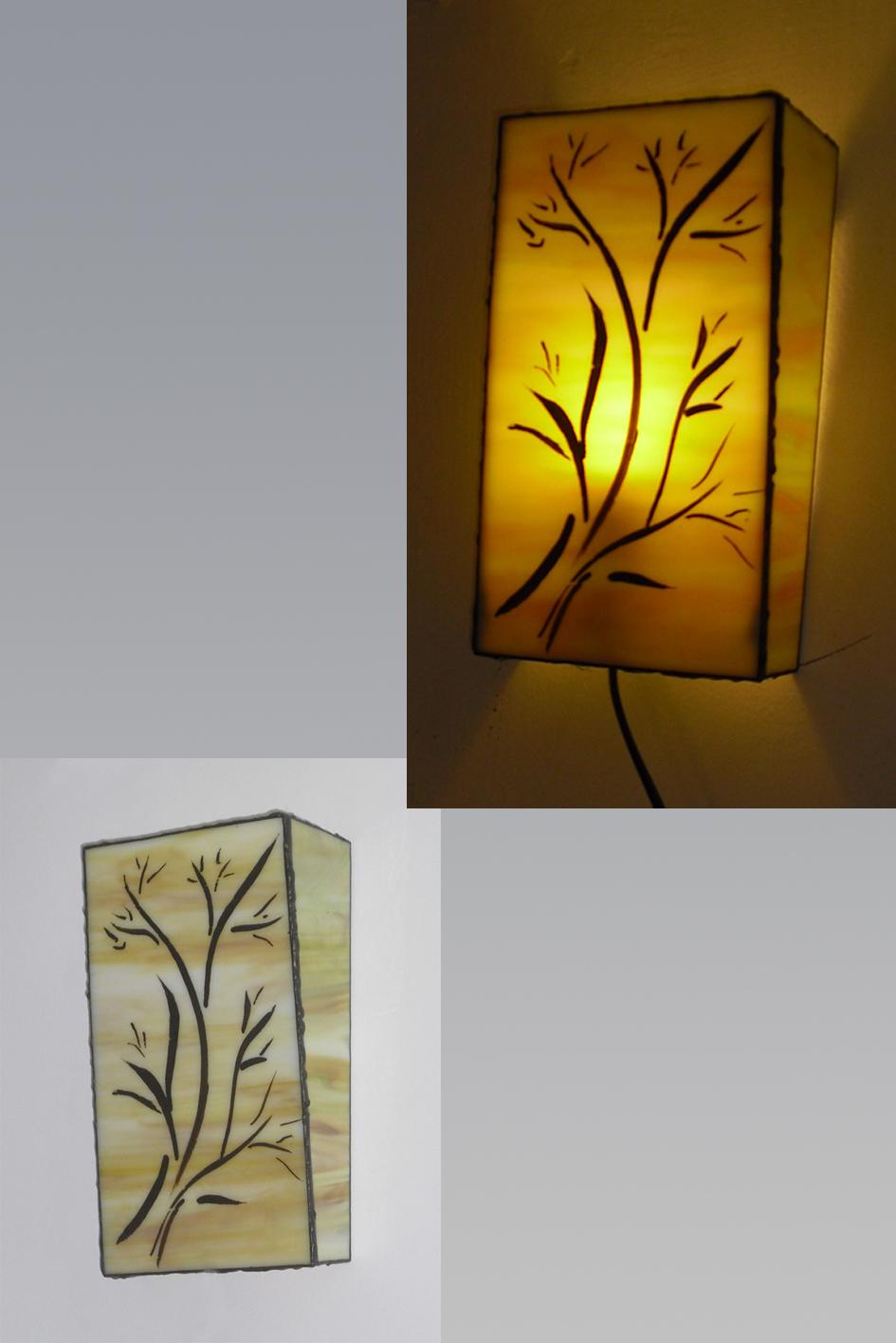 מנורות ויטראז טיפאני צמודות קיר, עם תאורה
